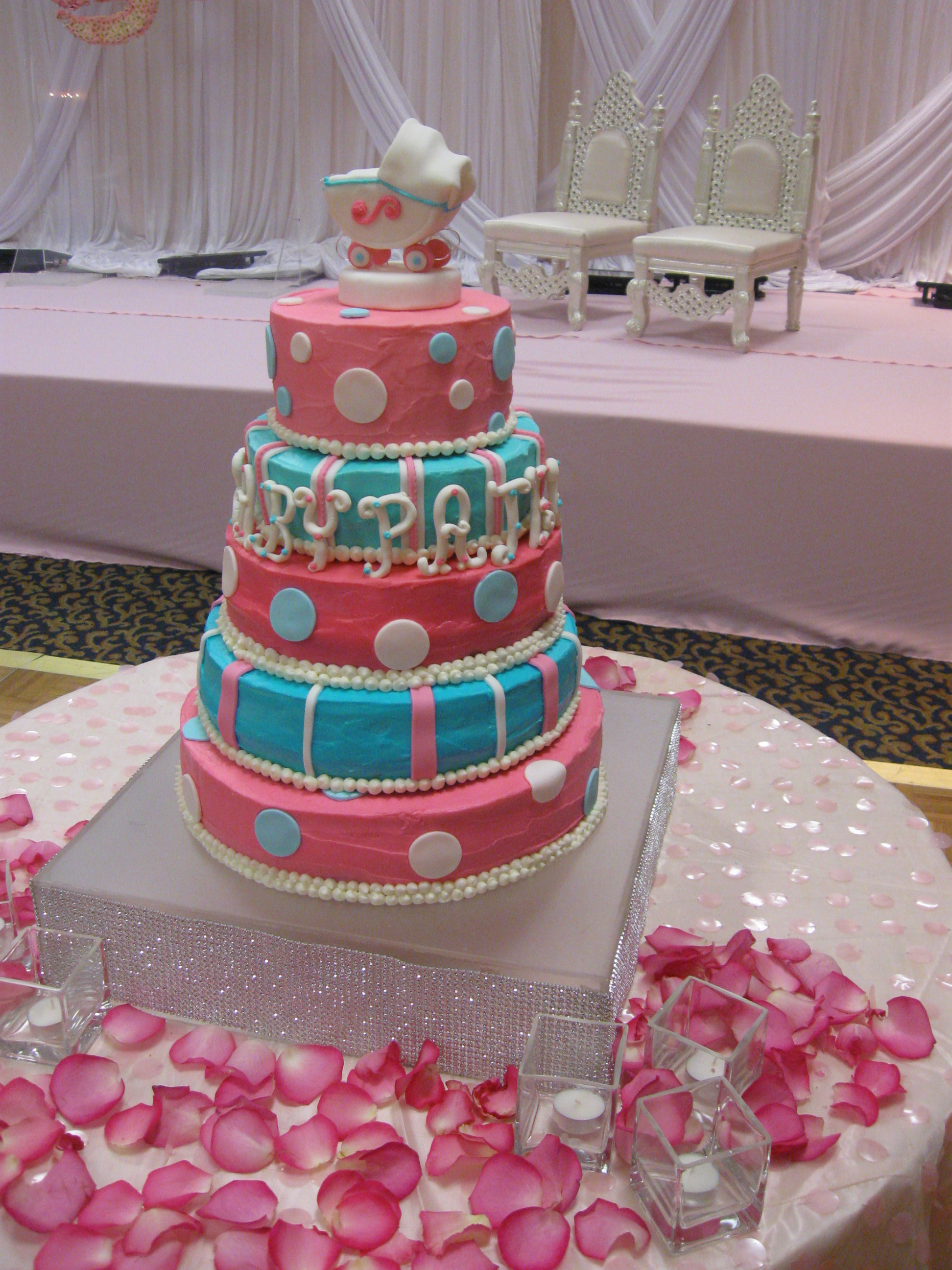 Baby Shower Reveal Cakes Part - 27: 5 Layer Baby Shower Cake